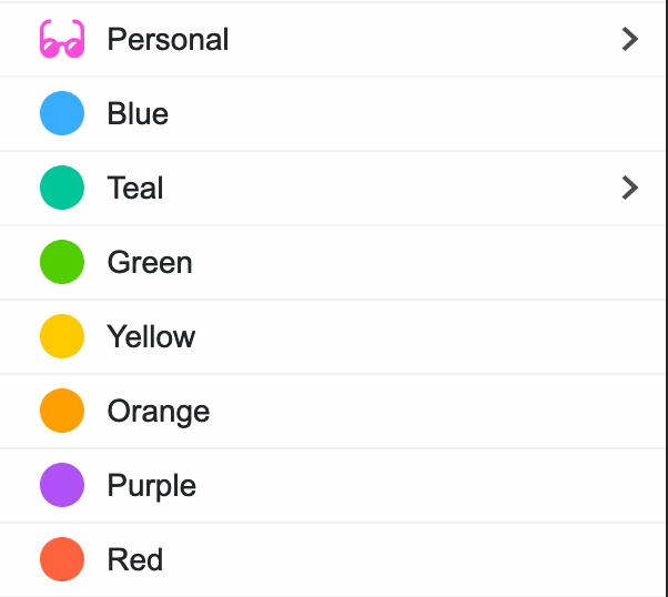 "Firefox Multi-Account Containers list containing containers labelled ""Personal"", ""Blue"", ""Teal"", ""Green"", ""Yellow"", ""Orange"", ""Purple"", and ""Red"", with the ""Personal"" container having a pink sunglasses icon to the left, and the color-named containers having a dot of that color"